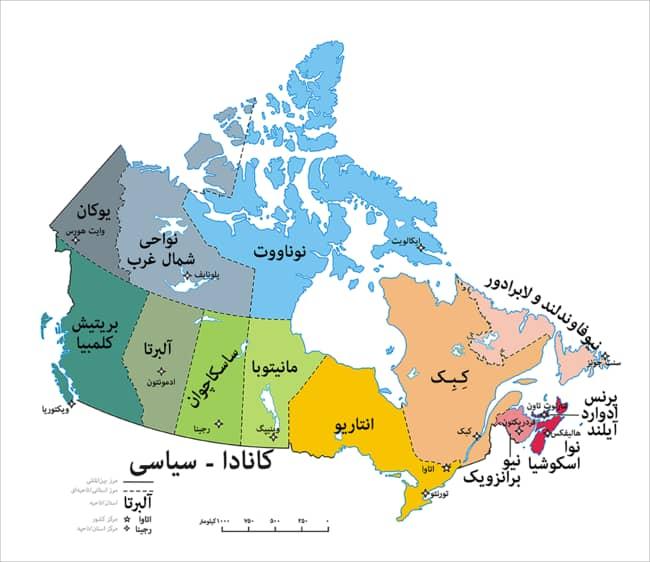 نقشه ایالت های کشور کانادا