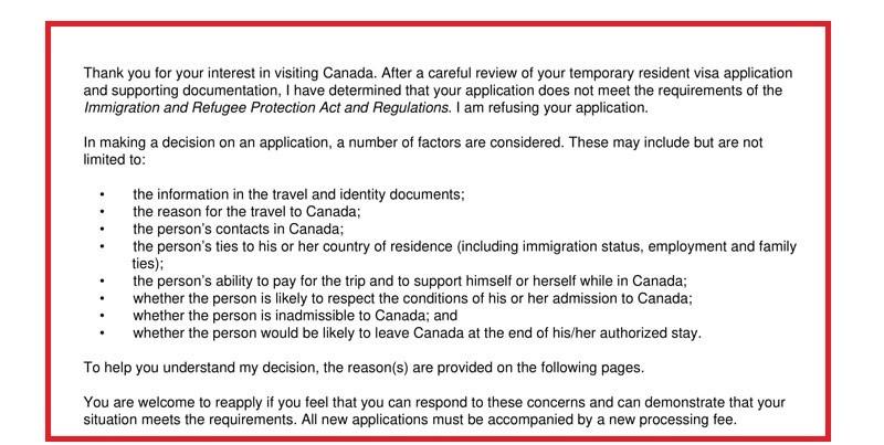 ریجکت شدن ویزای کانادا