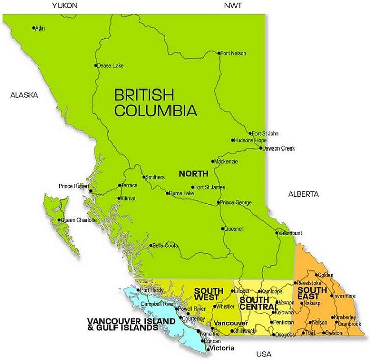 نقشه بریتیش کلمبیا