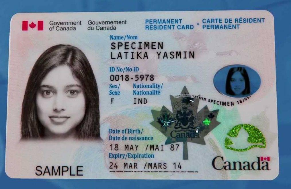 عکس کارت اقامت دائم کانادا